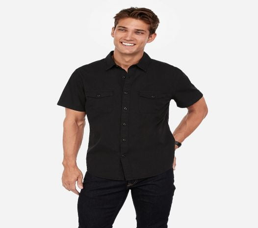 Áo Sơ Mi Nam Express Slim Military Pocket Short Sleeve Shirt Jet Black