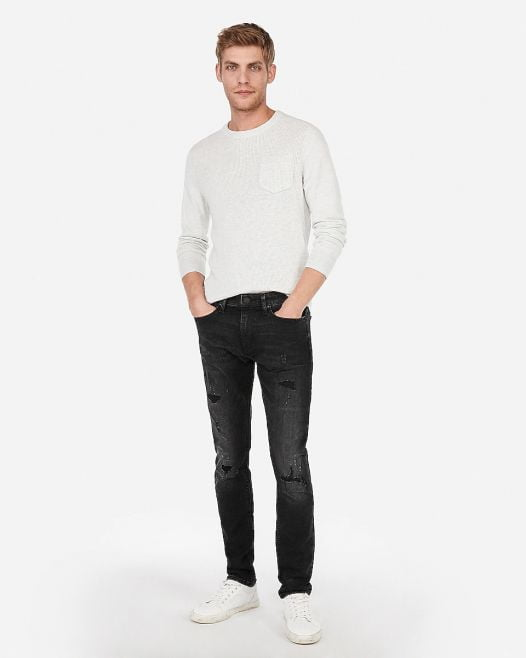 Quần Jean Nam Express Skinny Black Ripped Hyper Stretch Jeans Black