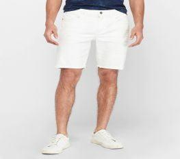 Quần Short Nam Express White Distressed Denim Shorts White
