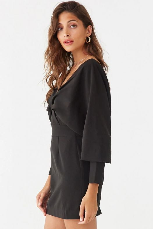 Đầm Nữ Forever 21 Pleated Dolman Mini Dress Black