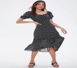 Đầm Nữ Forever 21 Daisy Print Maxi Dress Black White