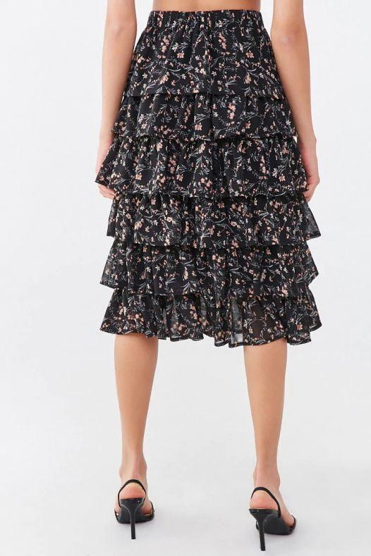 Váy Nữ Forever 21 Floral Tiered Flounce Skirt Black Mauve
