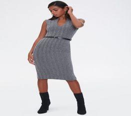 Đầm Nữ Forever 21 Herringbone Sheath Dress Charcoal Black