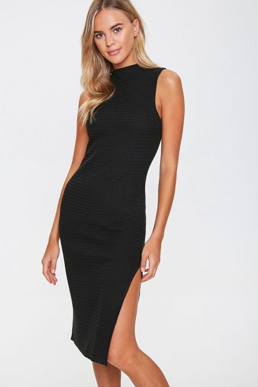 Đầm Nữ Forever 21 Sweater Knit Mock Neck Dress Black