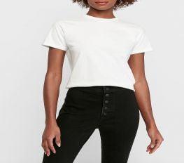 Áo Thun Nữ Express Hanes X Karla Crew Neck T Shirt White