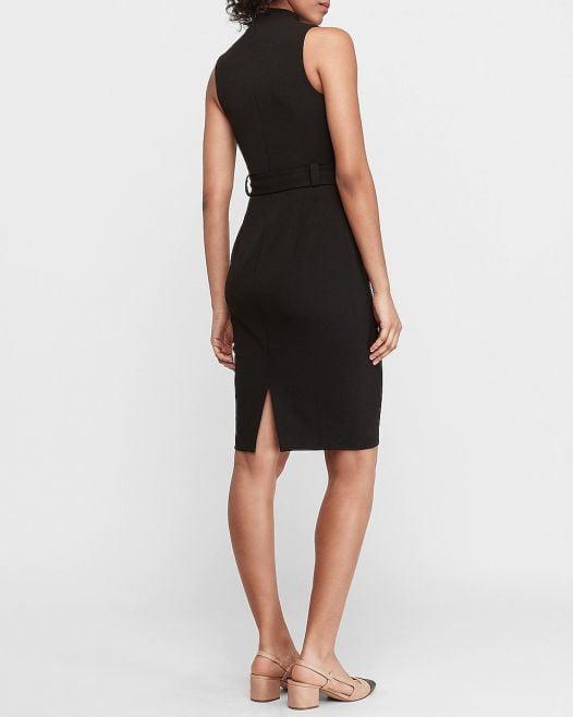 Đầm Nữ Express Belted Mock Neck Sheath Dress Black