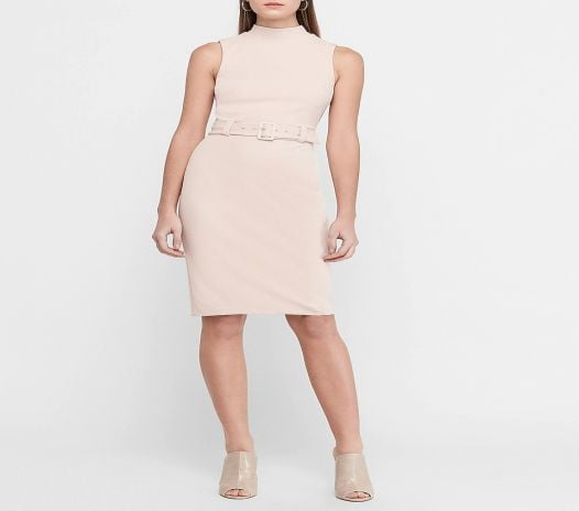 Đầm Nữ Express Belted Mock Neck Sheath Dress Truffle Pink