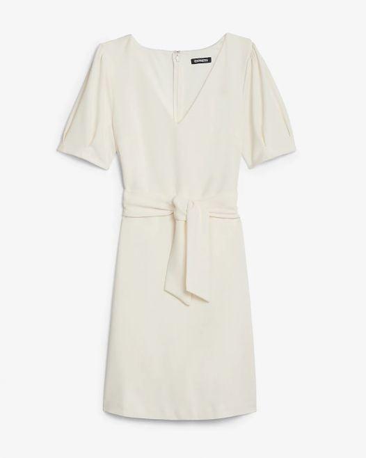 Đầm Nữ Express V-Neck Tie Waist Sheath Dress Ivory