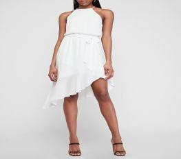 Đầm Nữ Express High Neck Asymmetrical Ruffle Wrap Midi Dress White