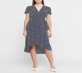 Đầm Nữ Express Printed Wrap Front Midi Dress Print