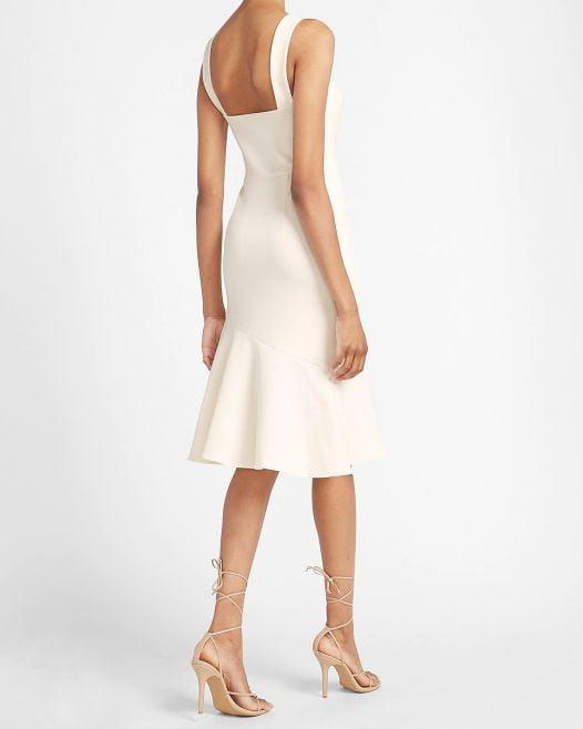 Đầm Nữ Express Square Neck Ruffle Wrap Midi Dress Ivory