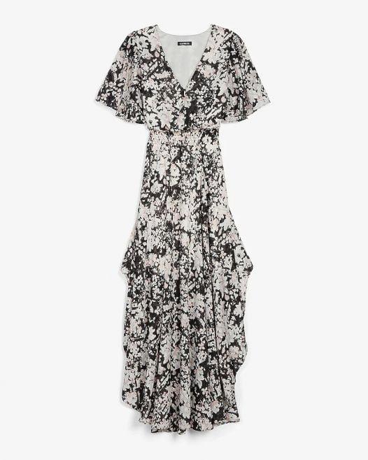 Đầm Nữ Express Metallic Floral Smocked Waist Maxi Dress Black Print