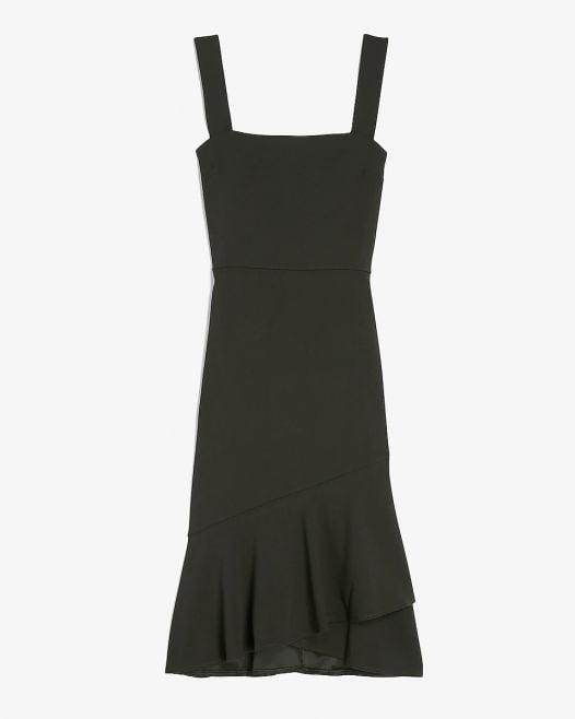 Đầm Nữ Express Square Neck Ruffle Wrap Midi Dress Black