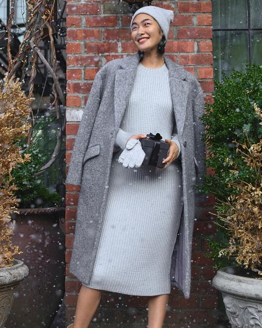 Đầm Nữ Express Balloon Sleeve Midi Sweater Dress Silver Heather Gray