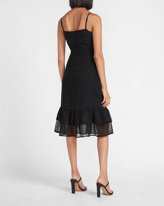 Đầm Nữ Express Clip Dot Tiered Midi Dress Pitch Black
