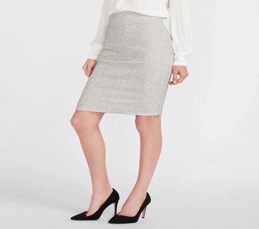 Váy Nữ Express High Waisted Textured Zip Side Pencil Skirt White Print