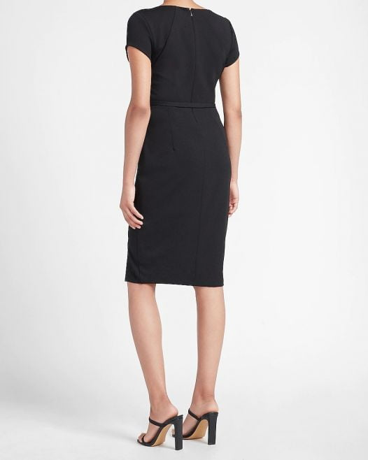 Đầm Nữ Express Belted Sheath Dress Pitch Black