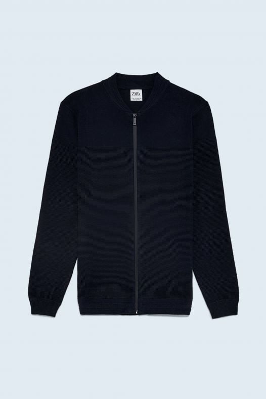 Áo Khoác Nam Zara Zip Up Textured Cardigan Navy Blue