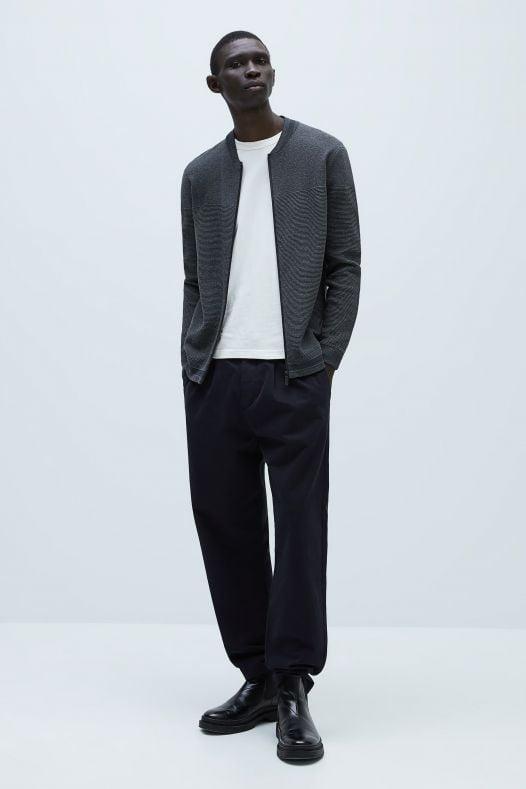 Áo Khoác Nam Zara Zip Up Textured Cardigan Charcoal