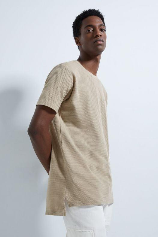 Áo Thun Nam Zara Long Textured Weave Shirt Taupe Brown