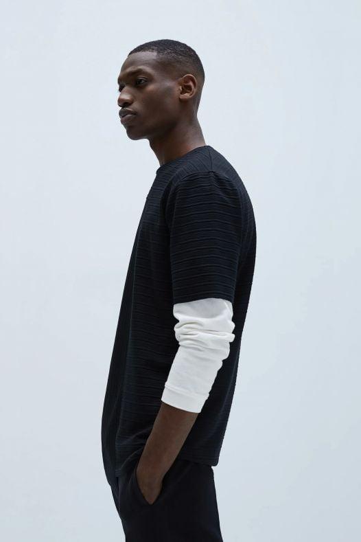 Áo Thun Nam Zara Textured Weave Long T Shirt Black