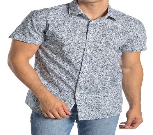 Áo Sơ Mi Nam English Laundry Patterned Short Sleeve Athletic Fit Shirt blue