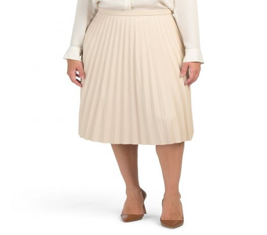 Váy Nữ 7 For All Mankind Faux Leather Pleated Midi Skirt Cream