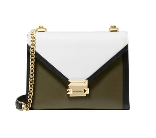 Túi Xách Michael Kors Whitney Large Tri-Color Leather Convertible Shoulder Bag Olive Combo