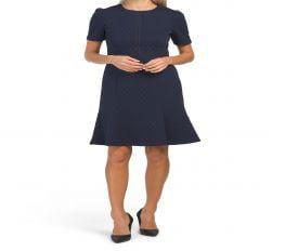 Đầm Nữ Maggy London Short Sleeve Textured Knit Dress Navy