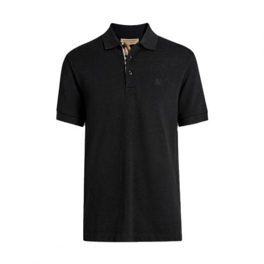 Áo Polo Nam Burberry Hartford Check Placket Cotton Black