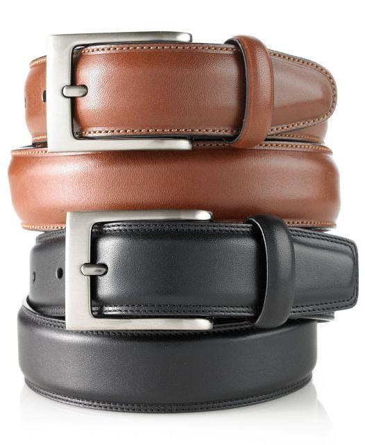 Thắt Lưng Nam Perry Ellis Portfolio Men's Full-Grain Leather Belt Black