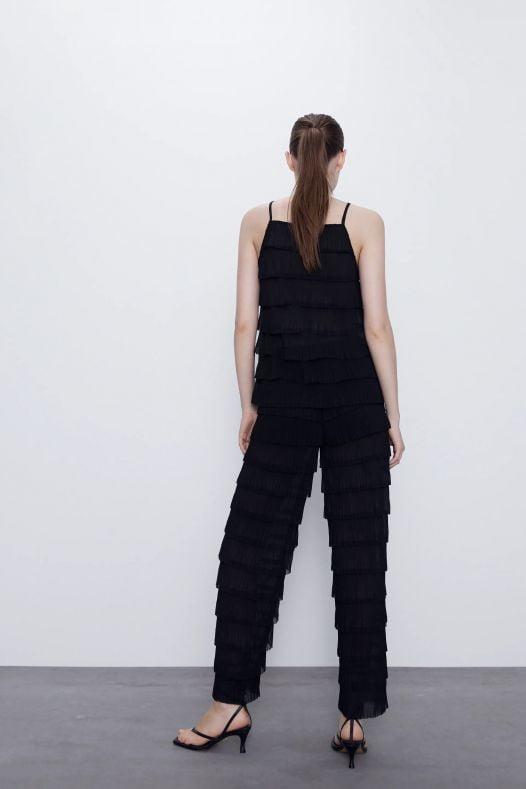 Áo Dây Nữ Zara Ruffled High Neck Top TRF Black