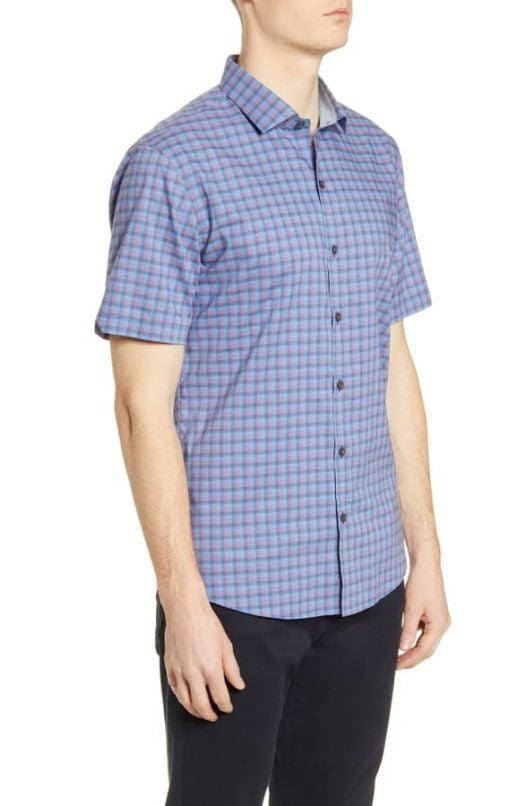 Áo Sơ Mi Nam Zachary Prell Swanson Classic Fit Check Short Sleeve Button-Up Shirt Azure