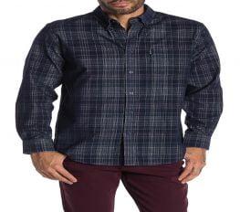 Áo Sơ Mi Nam Ben Sherman Plaid Print Corduroy Classic Fit Shirt Navy