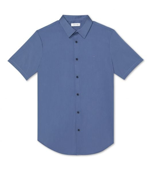 Áo Sơ Mi Nam Calvin Klein Men's Classic-Fit Stretch Solid Shirt Vintage Indigo