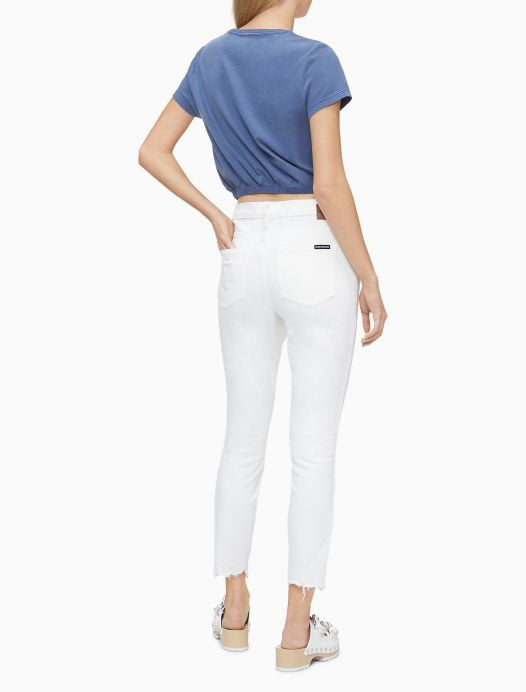 Quần Jeans Nữ Calvin Klein Skinny Fit Mid Rise Sharkbite Hem Ankle Jeans White