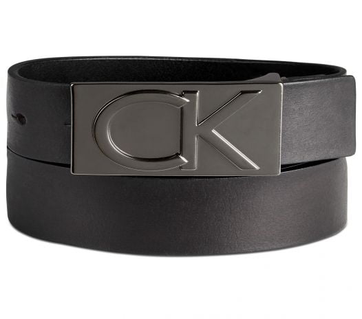 Thắt Lưng Nam Calvin Klein Men's Leather Logo Plaque Belt Black