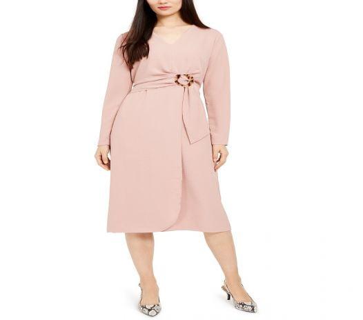 Đầm Nữ Alfani Petite Hardware Faux Wrap Dress Pottery Clay