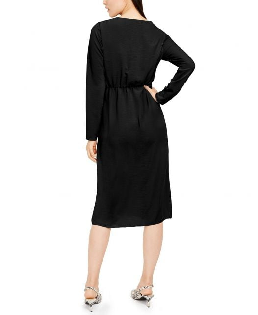Đầm Nữ Alfani Petite Hardware Faux Wrap Dress Deep Black