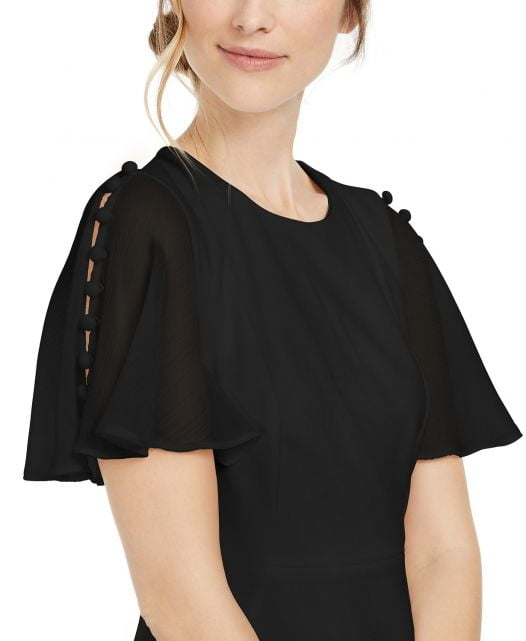 Đầm Nữ Calvin Klein Chiffon-Sleeve Sheath Dress Black