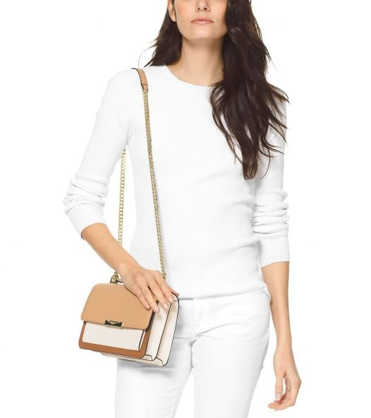 Túi Xách Nữ Michael Kors Jade Large Gusset Leather Shoulder Bag Butternut