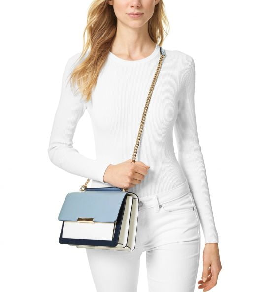 Túi Xách Nữ Michael Kors Jade Large Gusset Leather Shoulder Bag Navy