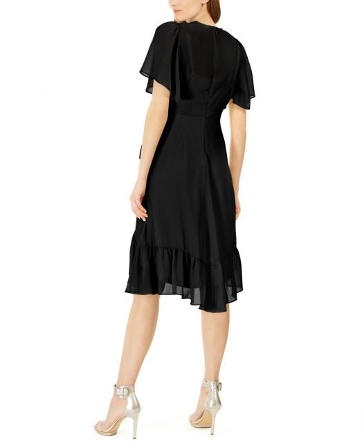 Đầm Nữ Calvin Klein High-Low Chiffon Dress Black