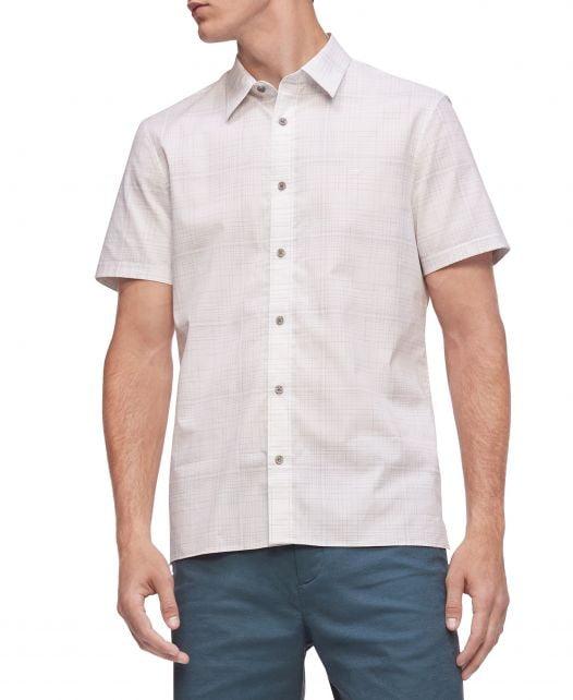 Áo Sơ Mi Nam Calvin Klein Men's Short Sleeve Stretch Cotton Shirt Harbor Mist