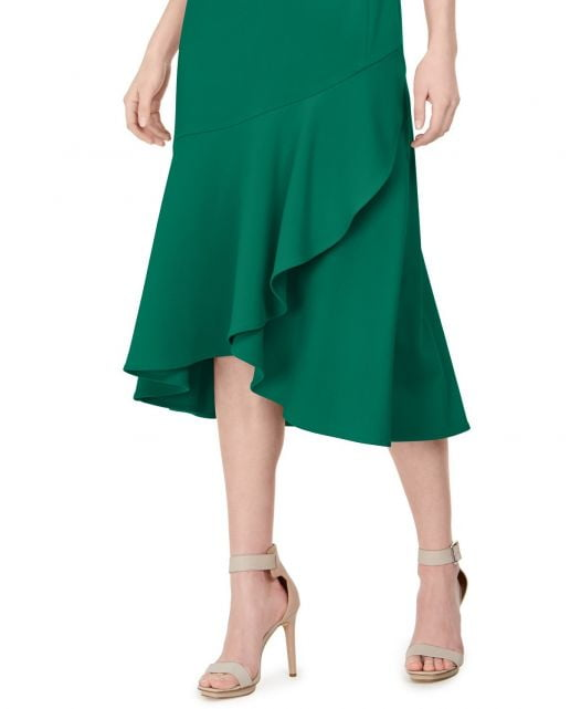 Đầm Nữ Calvin Klein Flounce Midi Sheath Dress Green