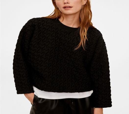 Áo Nỉ Nữ Mango Textured Sweatshirt Black