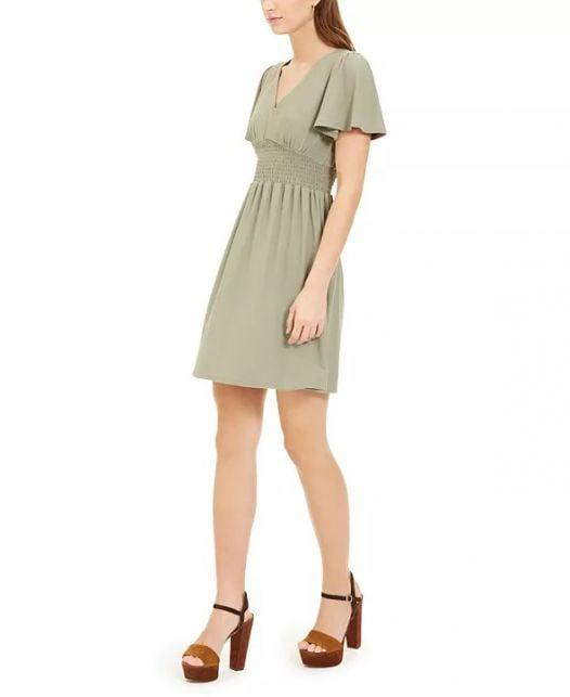 Đầm Nữ Planet Gold Juniors' Cinched Flutter Sleeve Dress Seagrass Green