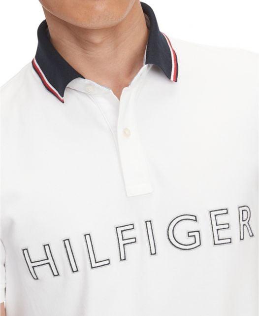 Áo Polo Nam Tommy Hilfiger Men's Custom-Fit TH Flex Ben Logo Polo Bright White