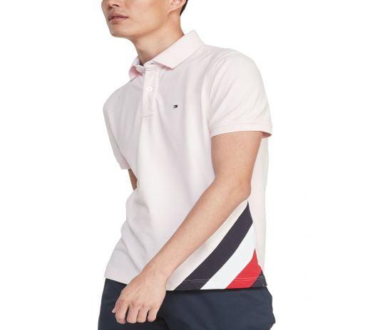 Áo Polo Nam Tommy Hilfiger Men's Eric Custom-Fit TH Flex Stretch Logo Polo Shirt Barely Pink