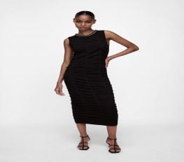 Đầm Nữ Zara Chain Trim Draped Dress Black